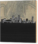 New Orleans Skyline Map Wood Print