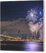 New Year Fireworks Wood Print