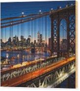 New York City - Beautiful Sunset Over Wood Print
