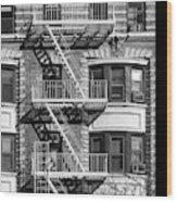 New York City Fire Escapes Wood Print