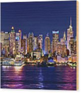 New York City Nyc Midtown Manhattan At Night Wood Print