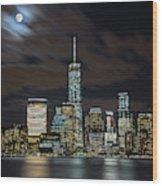 New York City Skyline At Night Wood Print