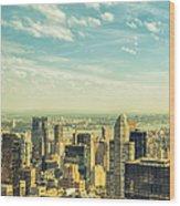 New York City Skyline With Central Park Wood Print