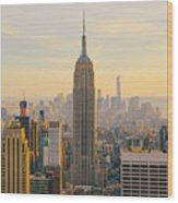 New York City Skyline With Urban Wood Print