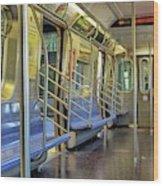 New York City Empty Subway Car Wood Print