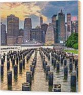 New York City, Usa City Skyline On The Wood Print
