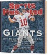 New York Giants Qb Eli Manning, Super Bowl Xlvi Champions Sports Illustrated Cover Wood Print