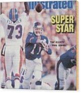 New York Giants Qb Phil Simms, Super Bowl Xxi Sports Illustrated Cover Wood Print