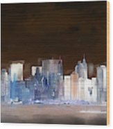 New York Skyline Illustration 1 Wood Print