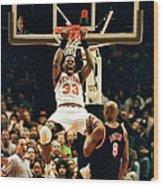 New York Knicks Patrick Ewing Does A Wood Print