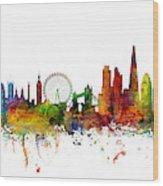 New York, London, Paris Skyline Mashup Wood Print