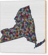 New York Map - 1 Wood Print