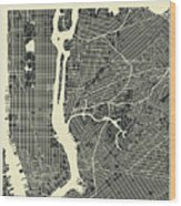 New York Map 3 Wood Print