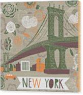 New York Print Design Wood Print