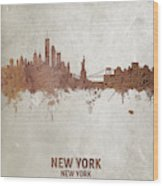 New York Rust Skyline Wood Print