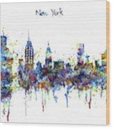 New York Watercolor Skyline Wood Print