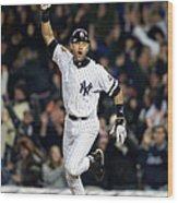 New York Yankees Derek Jeter Celebrates Wood Print
