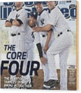 New York Yankees Derek Jeter, Jorge Posada, Mariano Rivera Sports Illustrated Cover Wood Print