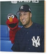 New York Yankees Derek Jeter Relaxes In Wood Print