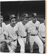 New York Yankees Hall Of Famers At Old Wood Print