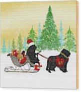 Newfoundland Dog Christmas Wood Print