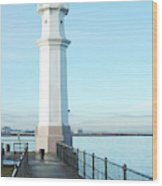 Newhaven Harbour Lighthouse Edinburgh Wood Print