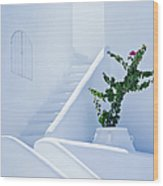 Nice White Stairs In Oia Village Wood Print