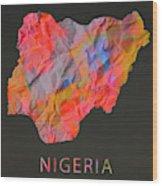 Nigeria Tie Dye Country Map Wood Print
