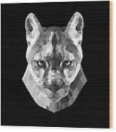 Night Mountain Lion Wood Print