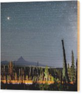 Night On Santiam Pass Wood Print