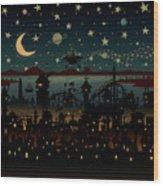 Night Scene Illustration With Ufo Wood Print