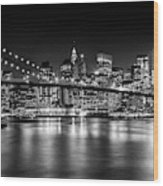 Night Skyline Manhattan Brooklyn Bridge Bw Wood Print