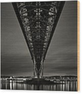 Night View Of Forth Road Bridge Wood Print