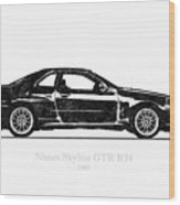 Nissan Skyline Gt-r R34 1989 Black And White Illustration Wood Print