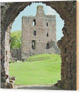 Norham Castle And Tower Through The Entrance Gate Wood Print