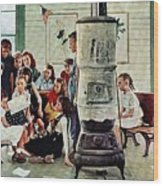 Norman Rockwell Visits A Country School Wood Print