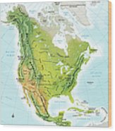 North America Continent Map, Relief Wood Print