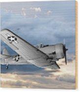 North American T-6 Texan Military Aircraft Wood Print