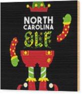 North Carolina Elf Xmas Elf Santa Helper Christmas Wood Print