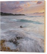 North Shore Sunset Surge Wood Print