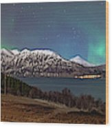 Northern Lights Over Grytoya Wood Print