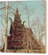 Norwegian Stave Church Wood Print