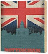 Nottingham England City Skyline Flag Wood Print
