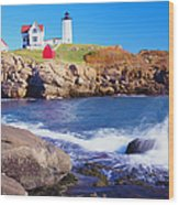 Nubble Lighthouse And Coastine Of Maine Wood Print
