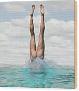 Nude Man Diving Wood Print
