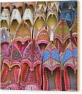 Numerous Colorful Embroidered Shoes Wood Print