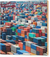 Numerous Shipping Containers In Port Wood Print