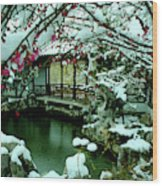 Ny Chinese Scholars Garden, Spring Snow Wood Print