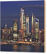 Nyc Sundown Gold And Twilight Skies Wood Print