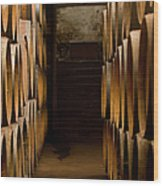 Oak Barrels At The Wine Cellar Wood Print